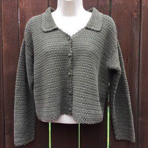 Tweeds Super Soft Brown Collared Button Up Sweater